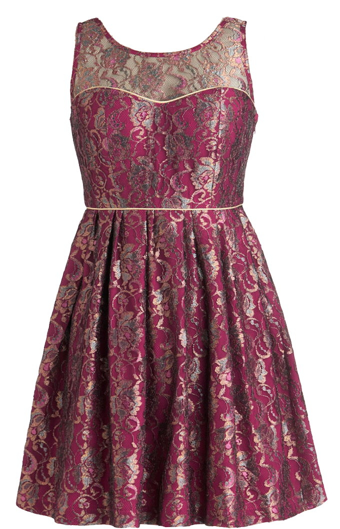 Burgundy Red Metallic Sweetheart A-Line Dress