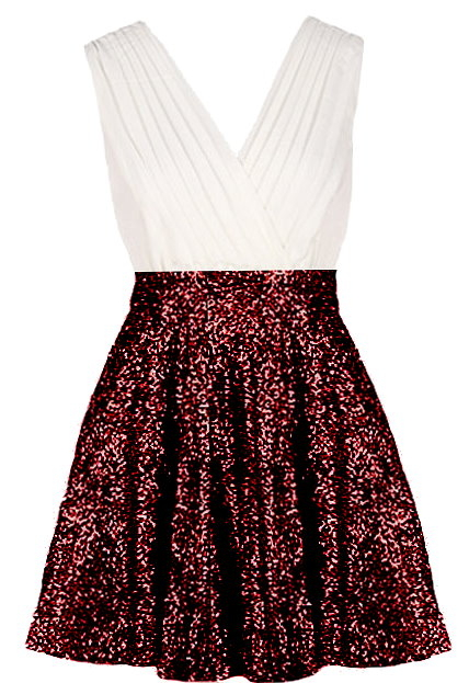 White Red Sequin Skater Party Dress