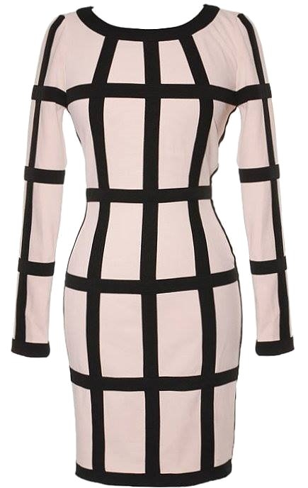 Beige Black Long Sleeve Cage Striped Bodycon Dress