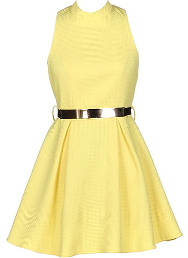 Sleeveless Yellow Belted Textured Fit-and-Flare Dress