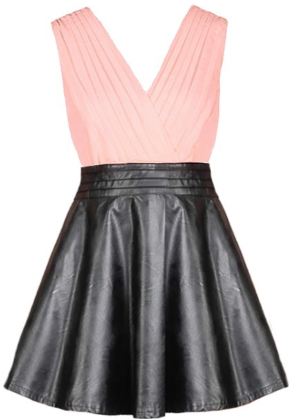 Coral Pink V-Neck Black Leather Skater Dress