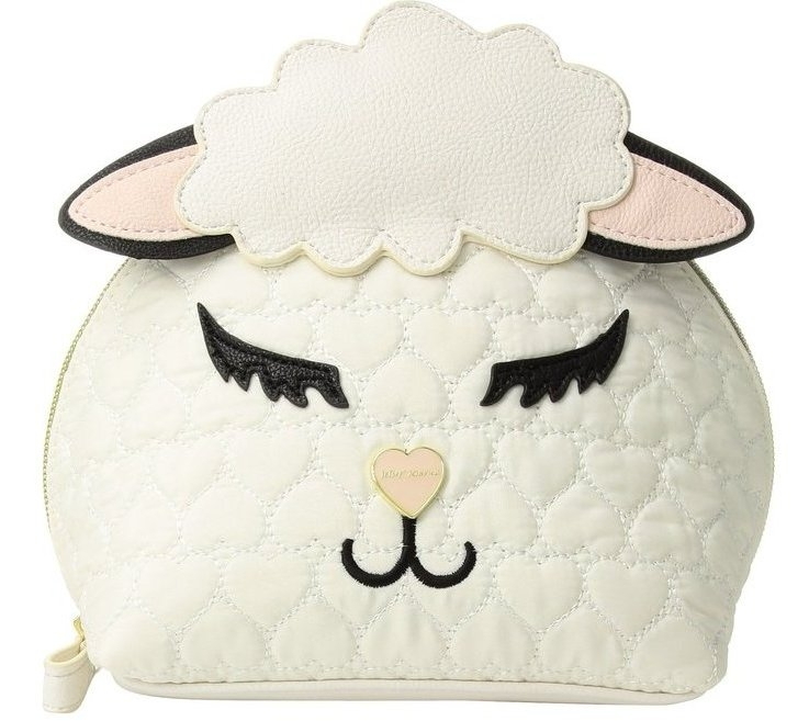 Betsey Johnson Sheepish Quilted Heart Cream Cosmetic Bag
