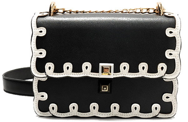 Black Contrast Scallop Trim Bag Purse Handbag