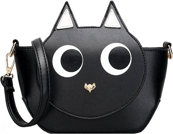 Black Cat Cartoon Face Purse Women's Handbag