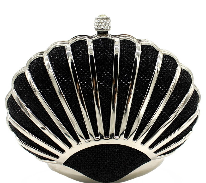 Black Silver Seashell Fan Shaped Clutch