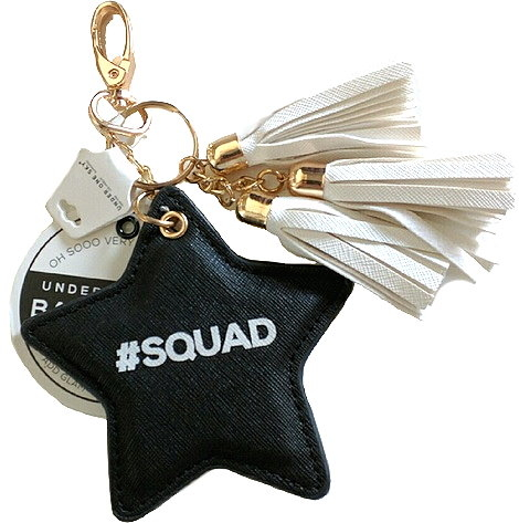 Black Hashtag Squad Star Key Ring Bag Charm Accessory