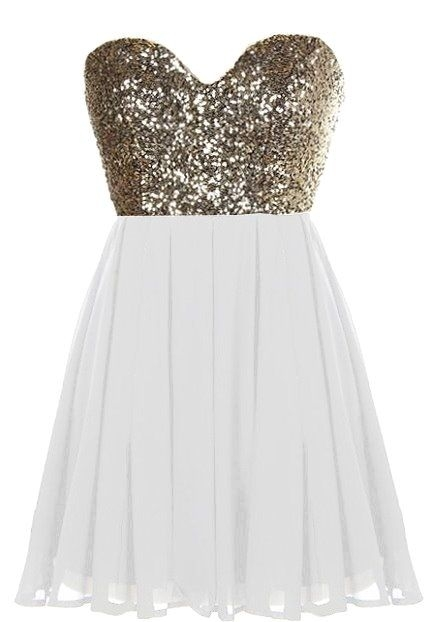 Gold Sequin White Chiffon Short Party Dress