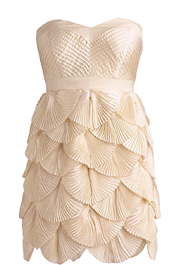 Strapless Ivory Pleated Scalloped Bridesmaid Dress