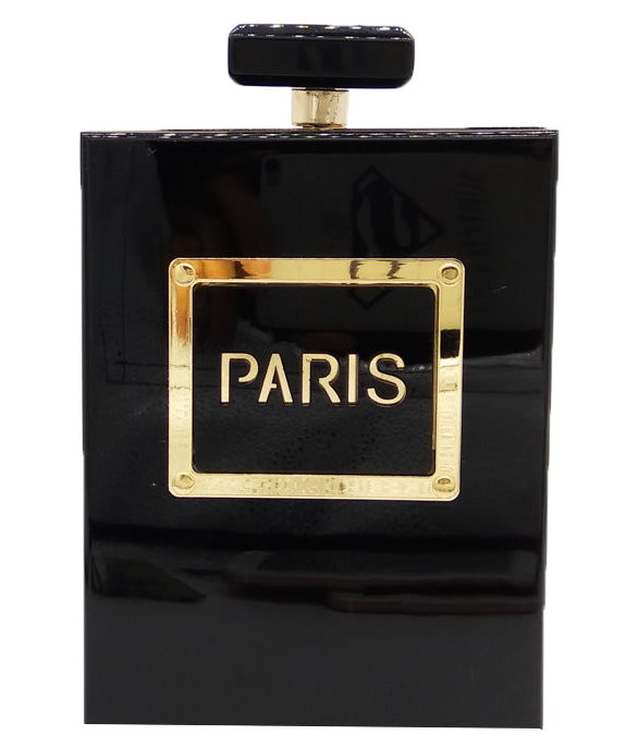 Black Paris Perfume Bottle Clutch Purse Handbag
