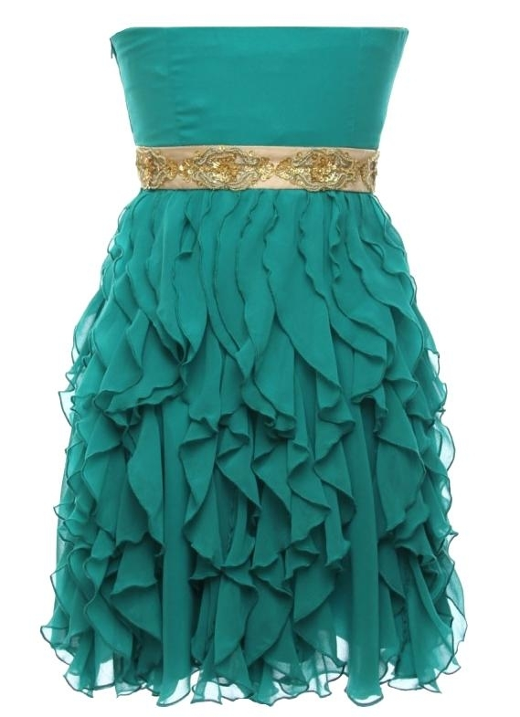 Green Gold Empire Waist Prom Homecoming Dress