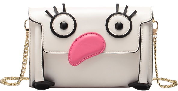 White Cartoon Face Flamingo Purse Bag Handbag