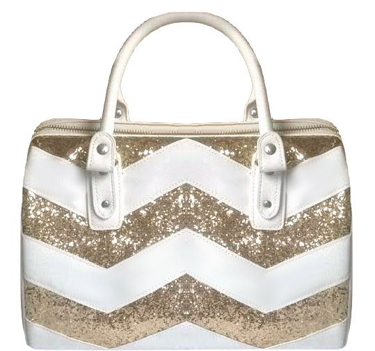 White Gold Sequin Chevron Bag Women's Handbag Purse