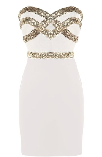 White Gold Sequin Strapless Bodycon Dress