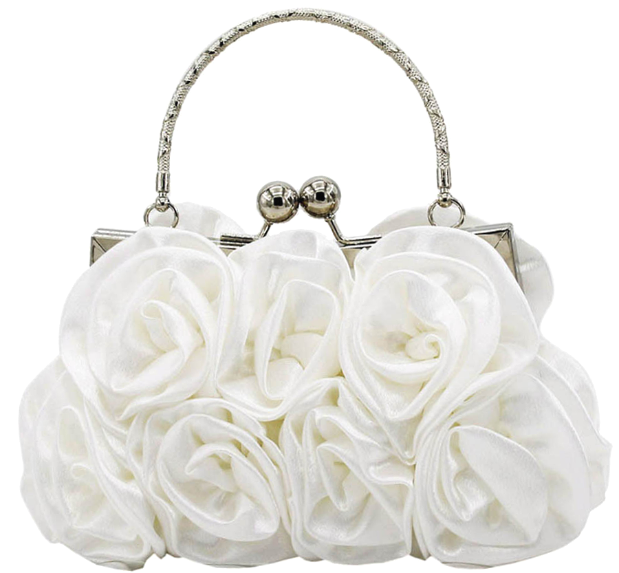 White Rosette Small Floral Bag Purse Clutch