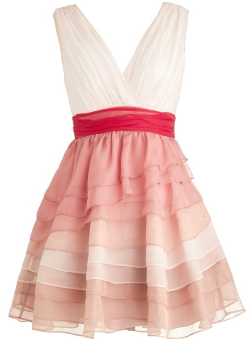 White Pink Red Tiered Ombre Bridesmaid Dress
