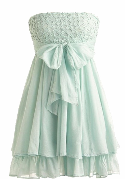 Strapless Mint Green Diamond Bow Prom Dress