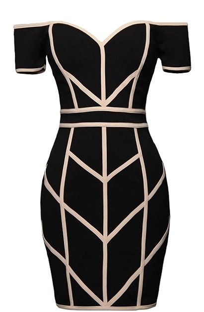 Off Shoulder Black Geometric Bandage Bodycon Dress