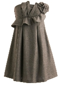 Strapless Gray Diagonal Ruffle Applique Short Bridesmaid Wedding Guest Dress
