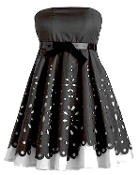 Strapless Black White Contrast Laser Cut Short Belted Bridesmaid Dress