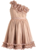Vintage Peach One-Shoulder Frilled Silk Chiffon Bridesmaid Dress