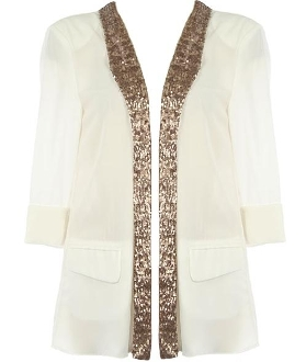 White Chiffon Three-Quarter Sleeve Gold Sequin Cardigan Top