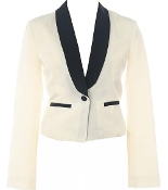 Women's White Blazer With Black Lapel and Contrast Pocket Trim