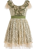 Vintage Green Ruffle Neck Leaf Printed Short Bridesmaid Dress