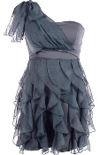 Gray One-Shoulder Ruffled Chiffon Short Bridesmaid Dress