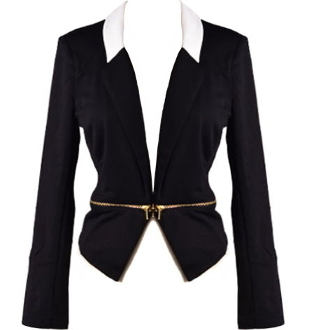 Black Cropped Women's Blazer With Gold Zipper and White Collar