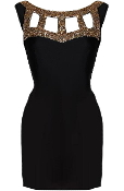 Black Gold Sequin Neck Cap Sleeve Cocktail Bodycon Dress