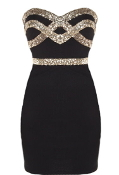 Black Gold Sequin Trim Sweetheart Neckline Strapless Bachelorette Party Bodycon Dress