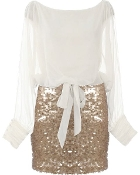 Women's Long Sleeve Ivory Chiffon Gold Sequin Short Party Dress