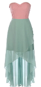 Strapless Pink Sweetheart Mint Green High Low Chiffon Maxi Dress