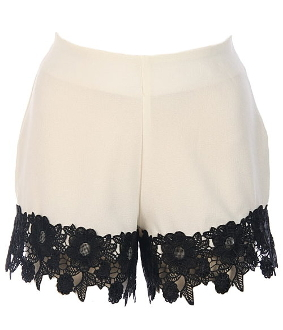 Women's White Chiffon Shorts With Black Contrast Scalloped Lace Trim