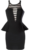 Black Mesh Illusion Plunge Neck Peplum Waist Bodycon Dress