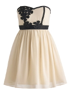 Strapless Sweetheart Neck Floral Applique Empire Waist Prom Dress