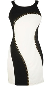 Black White Monochrome Paneled Studded Accent Short Bodycon Dress