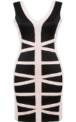Black Cream Geometric Criss-Cross Contrast Bandage Dress