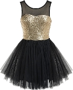Black Gold Sequin Mesh Tulle Short Skater Homecoming Prom Dress