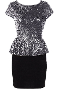 Silver Sequin Cap Sleeve Peplum Waist Short Black Bodycon Dress