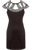 Diamond Embellished Black Bodycon Short Cocktail Dress
