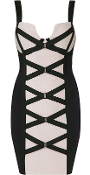 Beige Black Criss-Cross Corset Front Bandage Dress In The Style Of Kim Kardashia