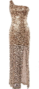Gold Sequin One-Shoulder Side Slit Maxi Dress Sequin Gown