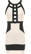 Cream Contrast Black Striped Cut Out Front Mini Bodycon Dress