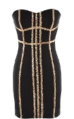 Black Gold Sequin Striped Sweetheart Strapless Mini Little Black Dress