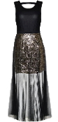 Black Chiffon V-Neck Gold Sequin Skirt Mesh Evening Maxi Dress