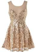 Gold Sequin Mesh Sweetheart Neck New Year's Eve Party Dress