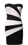 Strapless Black White Geometric Striped Cocktail Party Tube Dress