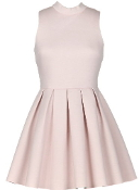 Light Pink Mock Neck Pleated Scuba Skater Dress