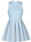 Baby Blue Sky Blue Fit Flare Pleated Skater Dress